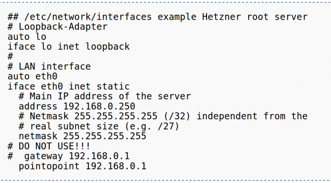 Hetzner Root Server Networking Configuration…